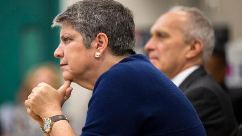 La presidenta de la Universidad de California, Janet Napolitano, en abril último.