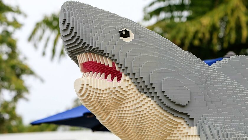 SAN DIEGO, CA June 29th, 2018 | This is a lego shark in the entrance area of the new ride at Legolan
