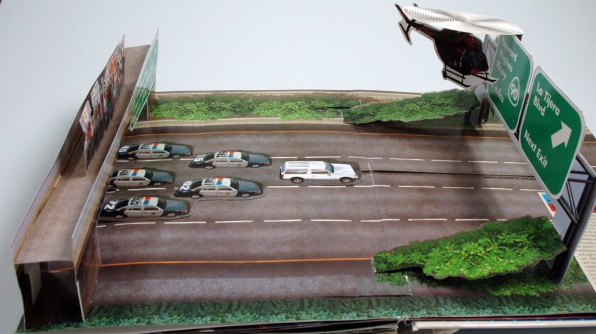 """O.J. Simpson's slow-speed white Bronco chase inspired this spread in the pop-up book """"Celebrity Melt"""