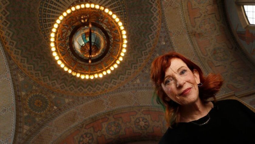 "Susan Orlean, author of ""The Library Book,"" visits the Los Angeles Central Library's second floor rotunda."