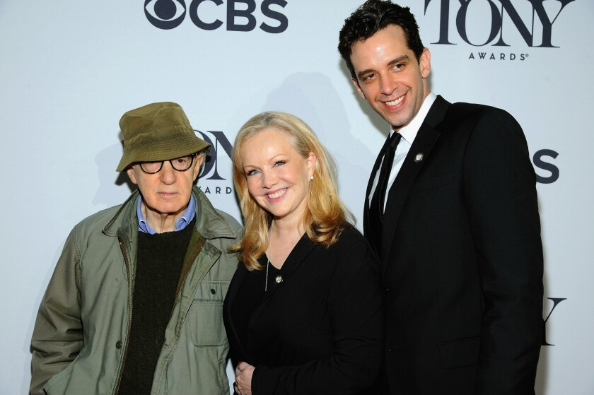 "Woody Allen attends a Tonys press junket with ""Bullets Over Broadway"" director Susan Stroman."