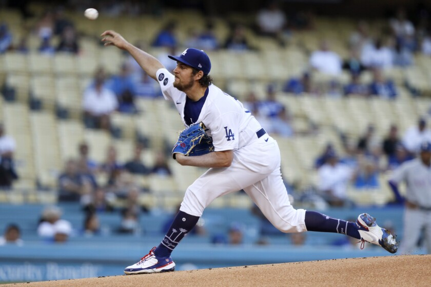 Dodgers starter Trevor Bauer delivers a pitch in the first inning against the Texas Rangers on June 12, 2021.