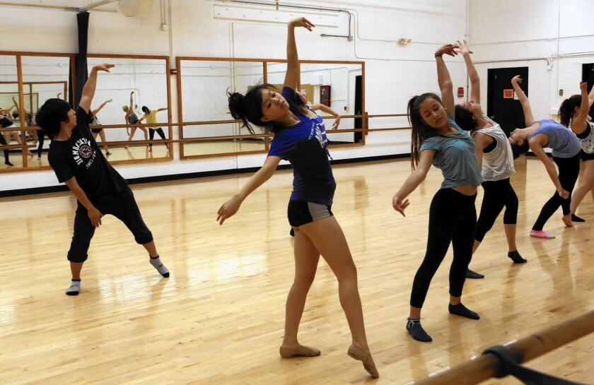 Students from the New York-based School of Creative and Performing Arts rehearse in a space on the Occidental College campus.