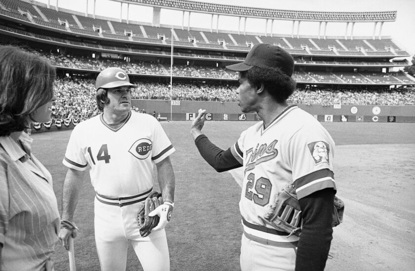 Cincinnati Reds Pete Rose, left, talks with Minnesota Twins Rod Carew on Monday, July 11, 1978 in San Diego, where both were working out for Tuesday All-Star game.
