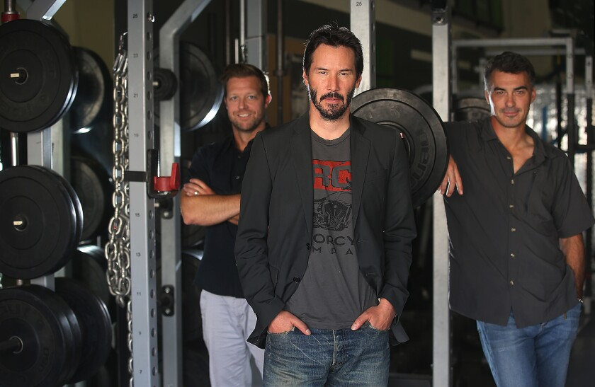 "Keanu Reeves with David Leitch and Chad Stahelski, directors of ""John Wick"""