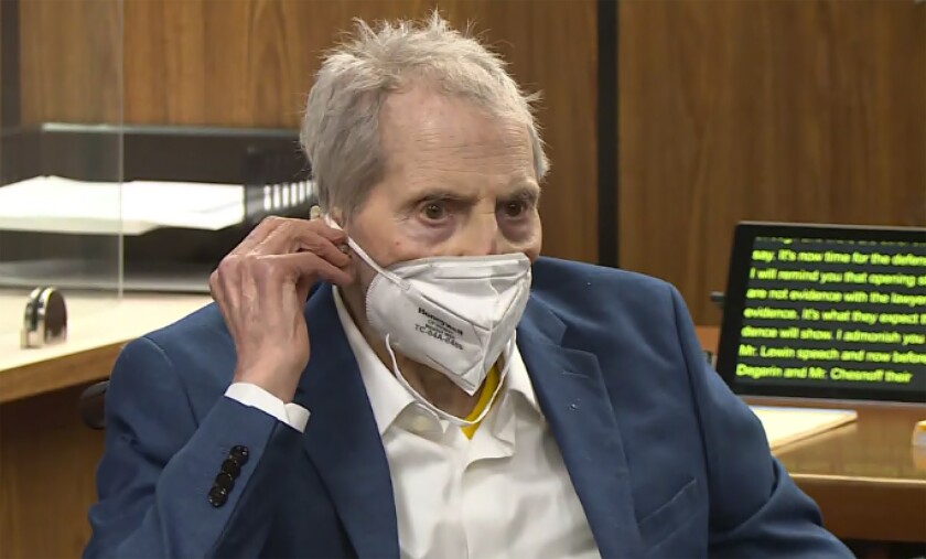 Robert Durst, wearing mask, in courtroom
