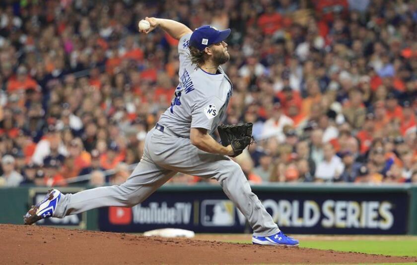 En la imagen, el jugador de los Dodgers de Los Ángeles Clayton Kershaw. EFE/Archivo