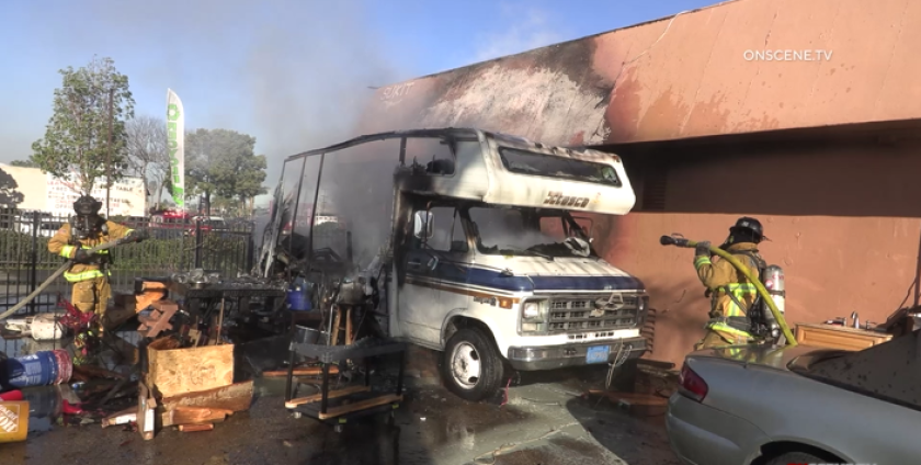 Firefighters responded to a fire that damaged a motorhome in Chula Vista on Tuesday morning.
