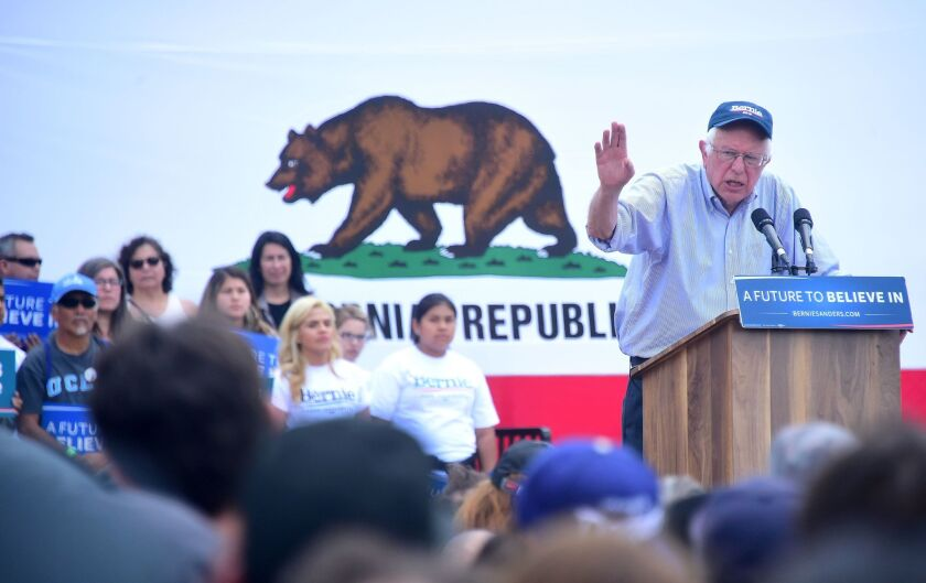 Vermont Sen. Bernie Sanders speaks at a rally in East Los Angeles on Monday. Sanders said he supports the effort to legalize recreational marijuana in California.