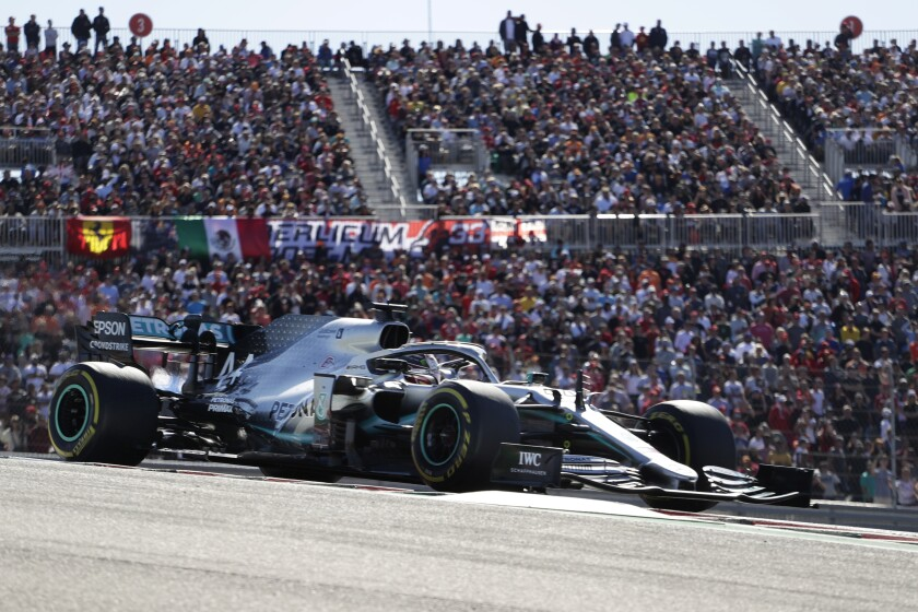 Mercedes driver Lewis Hamilton races during the Formula One U.S. Grand Prix at the Circuit of the Americas.