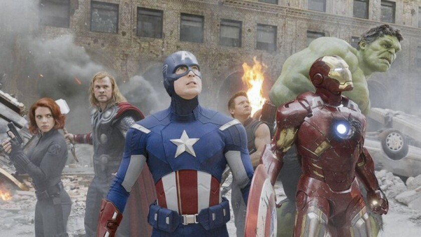 Captain America and Iron Man team up with Black Widow, left, Thor, Hawkeye and Hulk to save Earth in a story that builds from previous Marvel films.