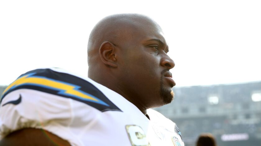 Chargers' Brandon Mebane is seen during a game against the Oakland Raiders on Nov. 11, 2018 in Oakland.