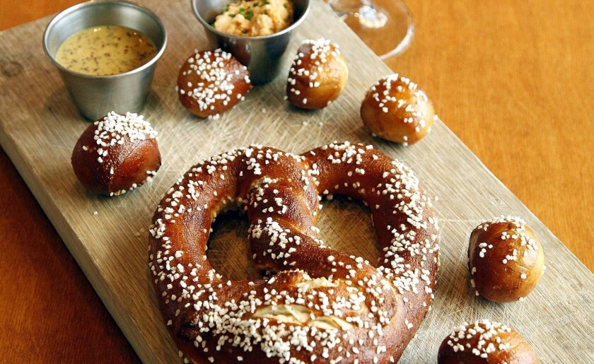 Ballast Point chef Colin MacLaggan recommends mustard and beer cheese as sides for pretzels.