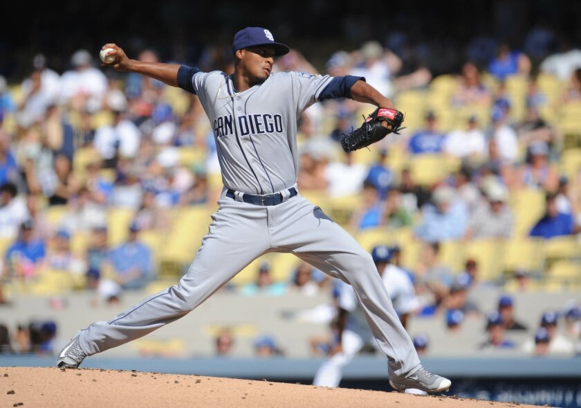 July 9, 2016; Los Angeles, CA, USA; San Diego Padres relief pitcher Luis Perdomo (61) throws in the first inning against Los Angeles Dodgers at Dodger Stadium. Mandatory Credit: Gary A. Vasquez-USA TODAY Sports. ** Usable by SD ONLY **