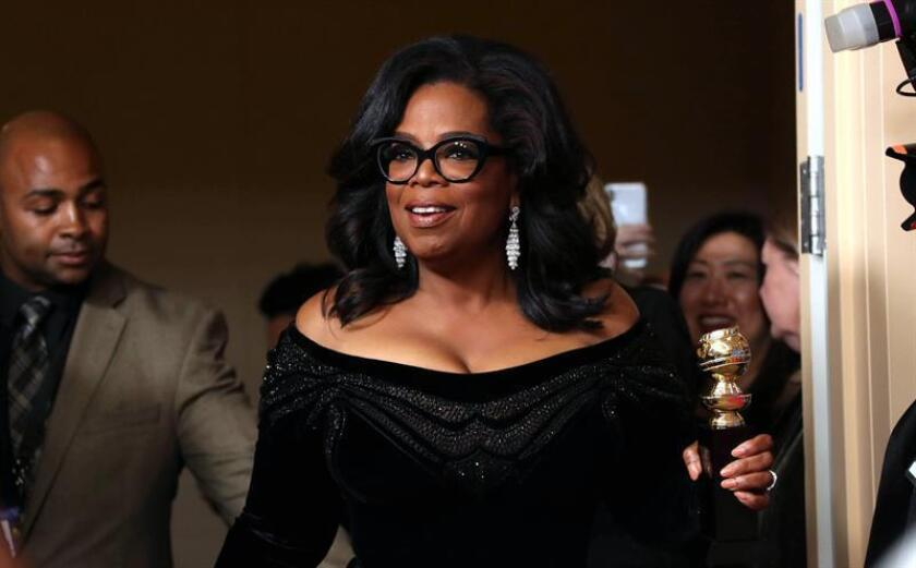 Oprah Winfrey holds the 2018 Golden Globe Cecil B. DeMille Award in the press room during the 75th annual Golden Globe Awards ceremony at the Beverly Hilton Hotel in Beverly Hills, California. EFE/EPA/File