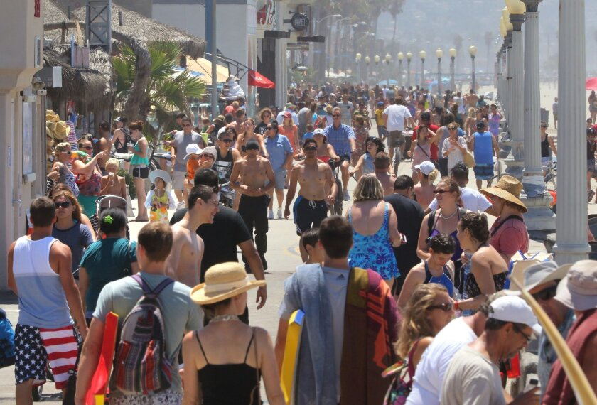 View of crowded Mission Beach Boardwalk.