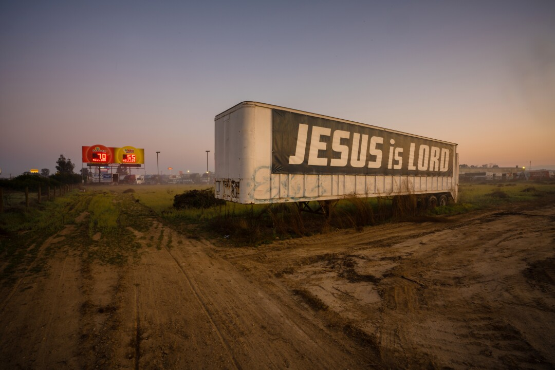 A trailer with a religious message just south of Fresno off of Highway 99.