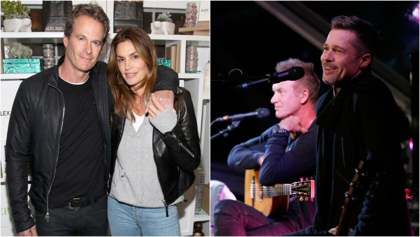 Rande Gerber and Cindy Crawford and Sting and Brad Pitt