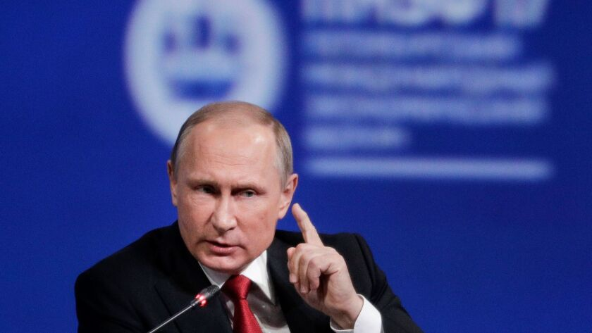 Russian President Vladimir Putin speaks at the St. Petersburg International Economic Forum in St. Petersburg, Russia.