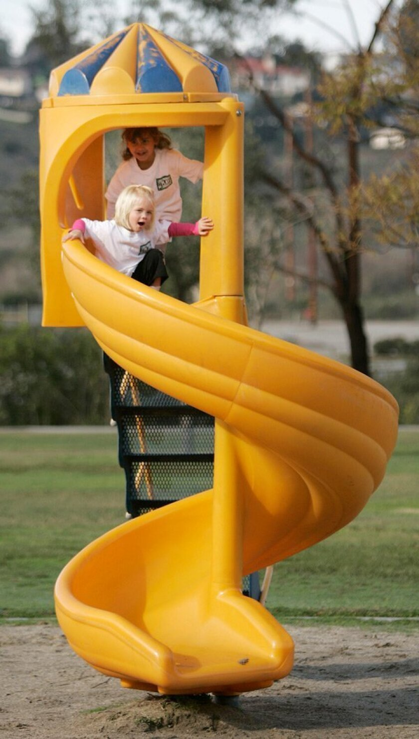Norah Dahlkamp (front) and Ella Shabestari, both 3, rode the spiral slide at Lake Murray Community Park.