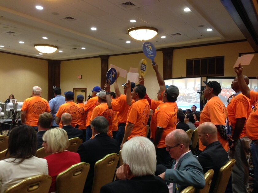 Local union workers were among those who showed up at the Coastal Commission hearing to support the proposed convention center expansion.