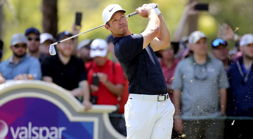 Paul Casey tees off on the second hole during the final round of the Valspar Championship golf tourn