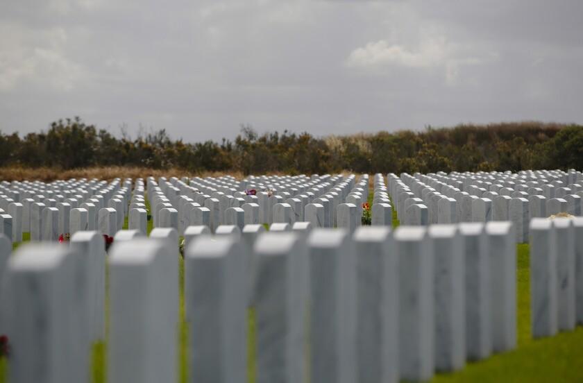 Headstones line the gravesite of veterans buried at Miramar National Cemetery.
