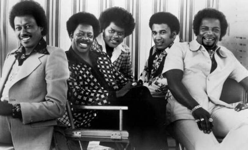 """The Spinners Bobbie Smith, far left, Henry Fambrough, John Edwards, Billy Anderson and Pervis Jackson. Smith's tenor voice was out front on a number of the Spinners' biggest Atlantic Records hits in the 1970s, including """"Could It Be I'm Falling in Love,"""" """"I'll Be Around,"""" """"Games People Play"""" and the 1974 Dionne Warwick duet """"Then Came You."""""""