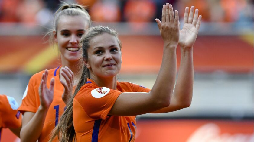 Lieke Martens of the Netherlands applauses after her team defeating Denmark at the Women's Euro 2017