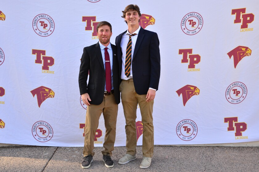 San Diego CIF Lacrosse Coachand Player of the Year, Jono Zissi and Dewey Egan.