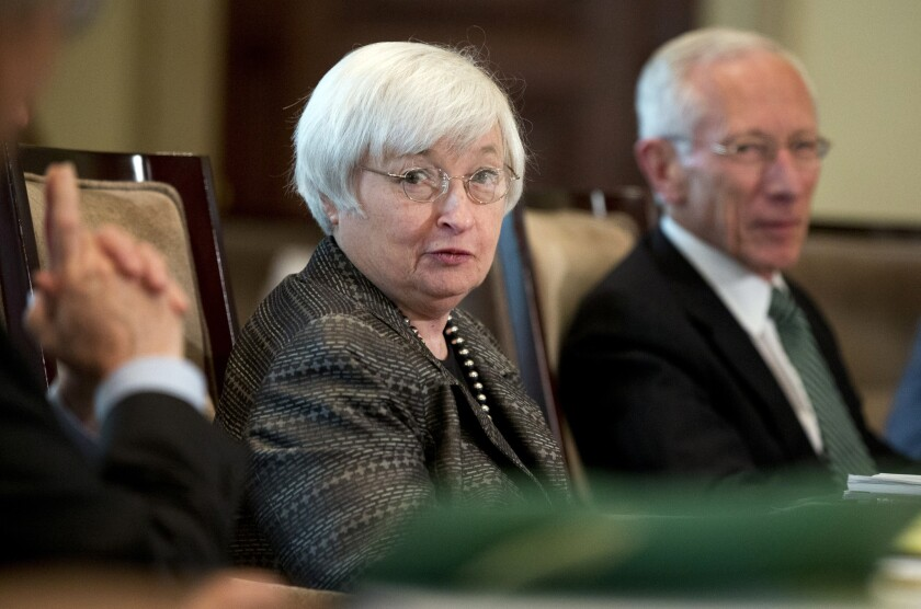 Federal Reserve Chair Janet Yellen and Vice Chairman Stanley Fischer preside over a meeting in Washington on July 20.