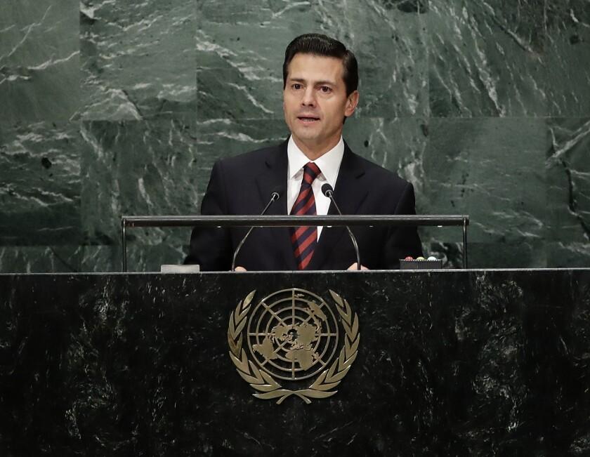 El presidente de México Enrique Peña Nieto habla ante la Asamblea General de la ONU el 20 de septiembre del 2016. (AP Photo/Frank Franklin II)