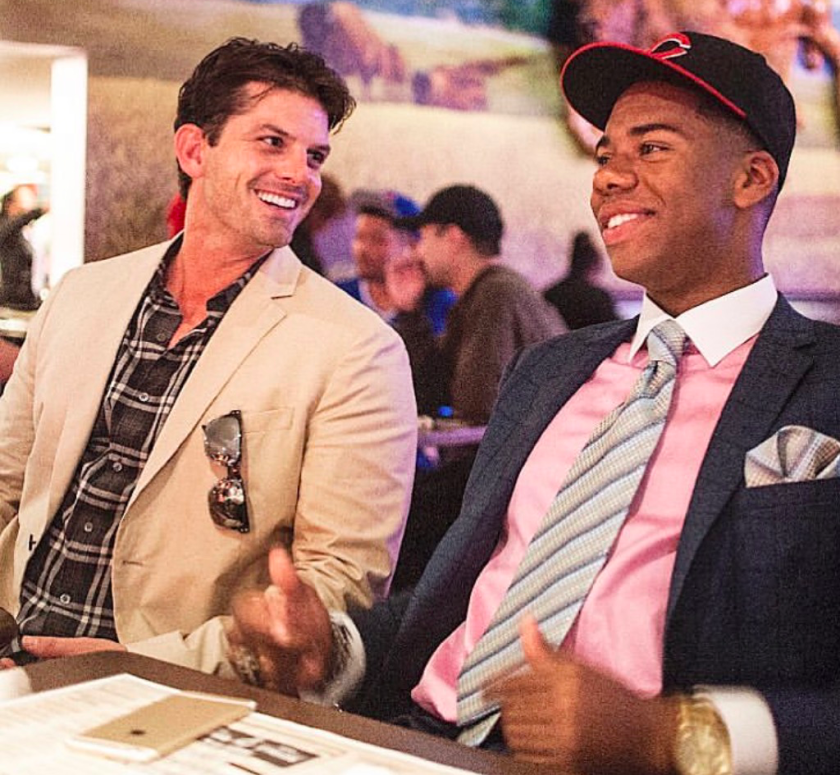 Sports agent Ryan Hamill, left, and Hunter Greene, who was taken second overall by the Cincinnati Reds in the 2017 draft