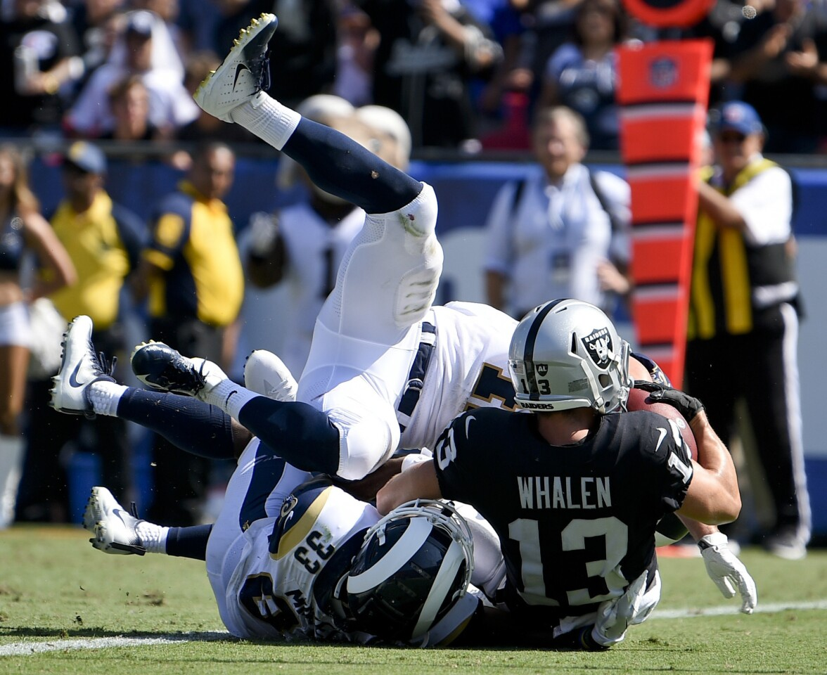 Oakland Raiders wide receiver Griff Whalen scores against the Los Angeles Rams during the second half in an NFL preseason football game Saturday, Aug. 18, 2018, in Los Angeles. (AP Photo/Kelvin Kuo)