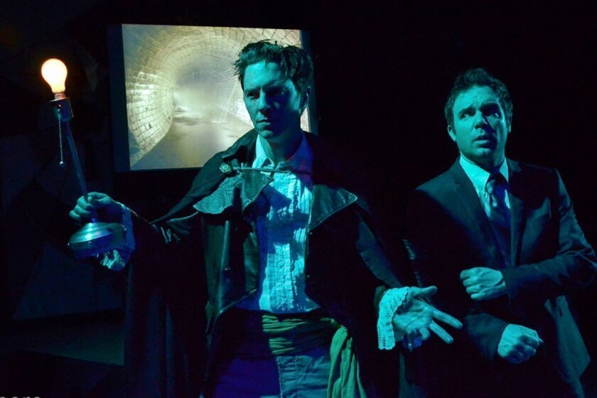 """Jonathan Kells Phillips, left, and Michael Holmes in """"Neverwhere"""" at Sacred Fools."""