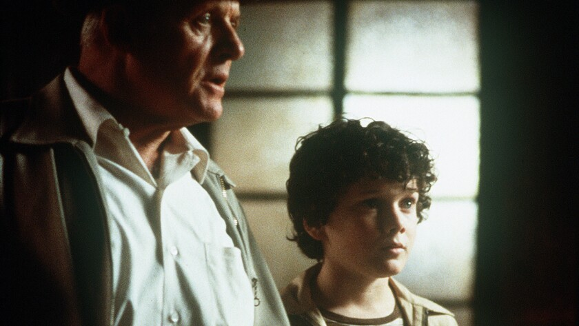 "Based on Stephen King's best seller, a mysterious man (Anthony Hopkins) enlists the aid of a brilliant young boy (Anton Yelchin) to save his life in the film ""Hearts In Atlantis."""