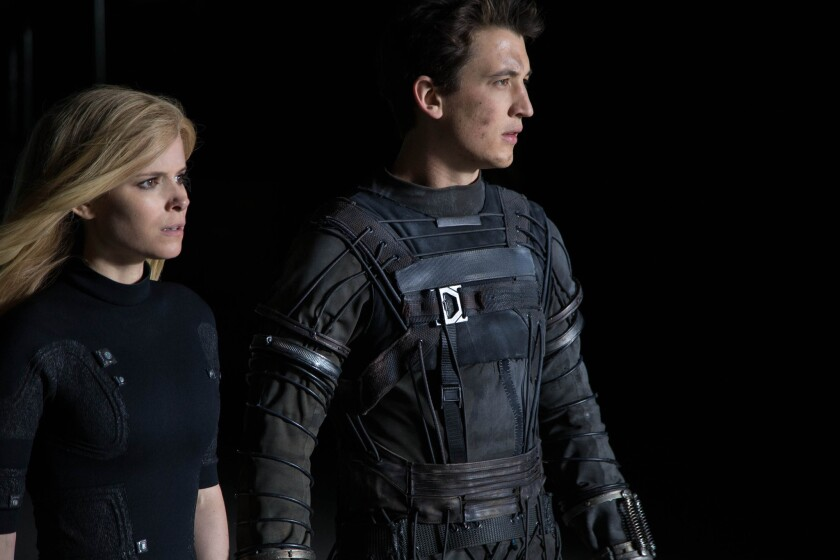 "Reed Richards (Miles Teller) and Sue Storm (Kate Mara) harness their daunting new abilities to save Earth from a former friend turned enemy in ""Fantastic Four."""