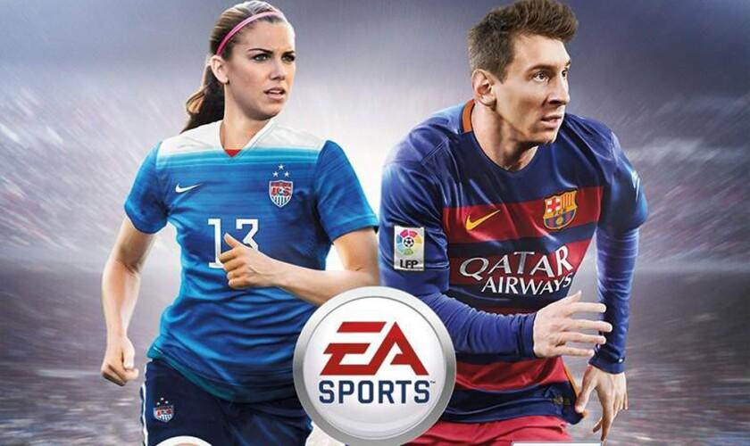 Alex Morgan y Lione Messi, en la portada del videojuego FIFA 16.