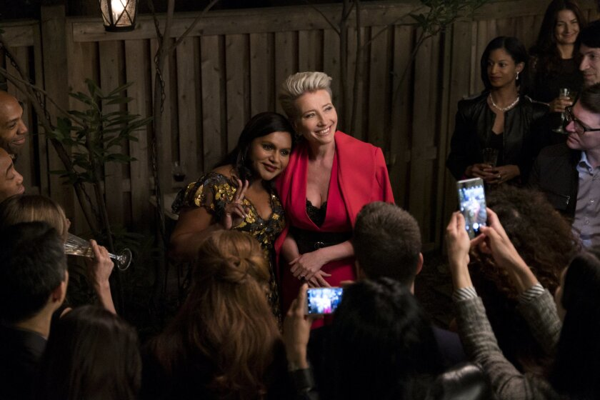 """(L-R)- Mindy Kaling and Emma Thompson in a scene from """"Late Night."""" Credit: Emily Aragones/Amazon St"""