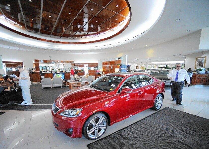 TrueCar's revenue, which jumped 75% in the first quarter, comes from fees paid by dealers participating in its network, according to its prospectus. Above, a Lexus dealership in Florida.