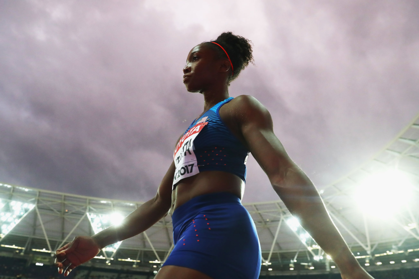 Tianna Bartoletta competes at the 2017 track and field world championships.