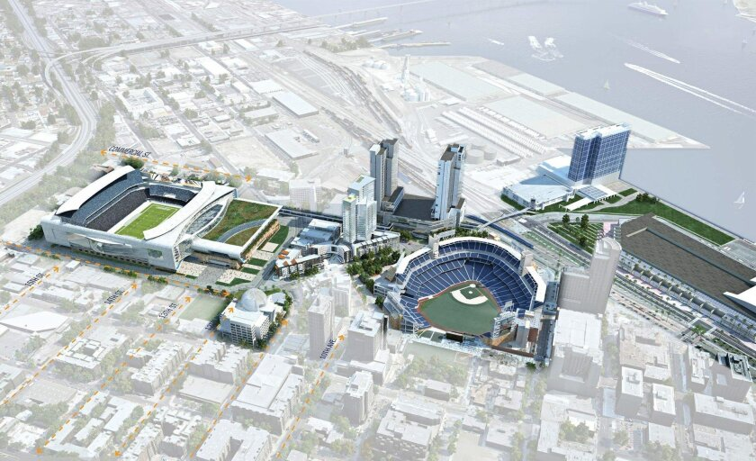 This is a 2014 rendering of the convention center stadium concept. At the far left is the stadium, next to it is the convention center annex ballroom building. The exiting convention center is at the far right, in between is the new library, a proposed two-tower hotel and Ballpark Village, a reside