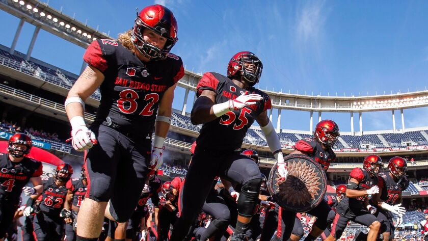 SAN DIEGO, November 24, 2017 | Aztecs players run onto the field before they play New Mexico at SDCC
