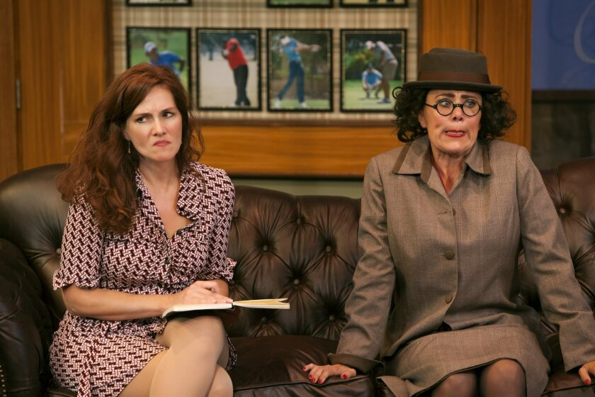 """Jacquelyn Ritz (left) and Roxane Carrasco in North Coast Rep's """"The Fox on the Fairway."""""""