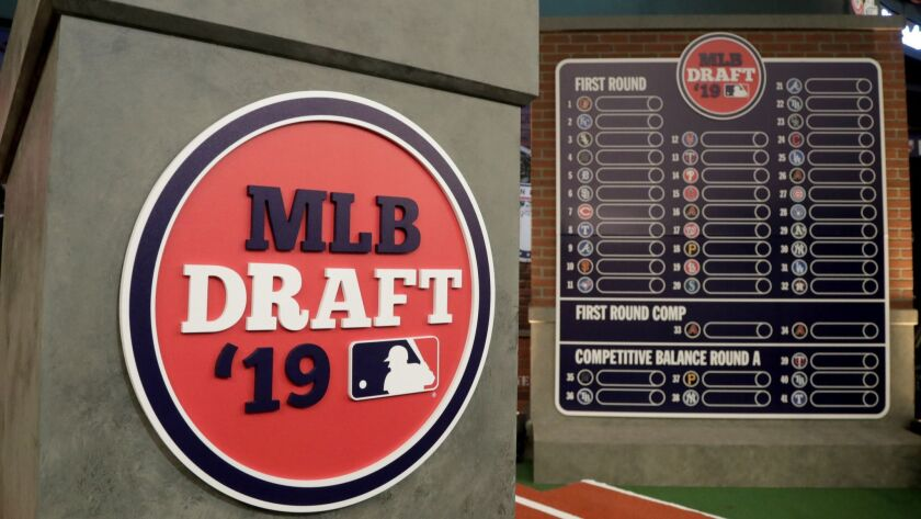 The rostrum is viewed at the MLB Network prior to the first round of the Major League Baseball draft