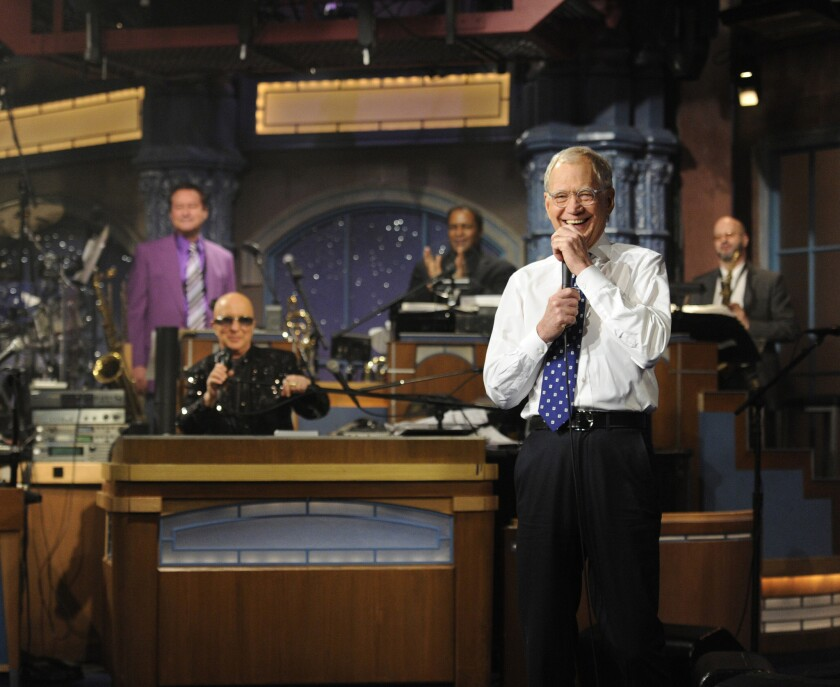 """David Letterman and Paul Shaffer after the final taping of Wednesday of """"The Late Show with David Letterman."""""""