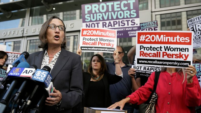 """Stanford law professor Michele Dauber, seen here in 2016, said the university's """"poor handling of the situation"""" scuttled a plaque meant to acknowledge the campus site where a woman was sexually assaulted by a former school swimmer."""