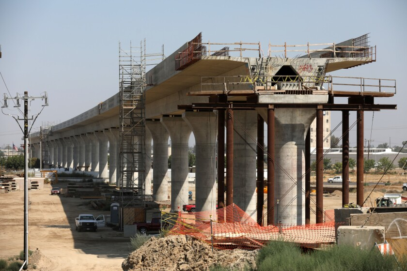 FRESNO, CALIF. -- WEDNESDAY, AUGUST 15, 2018: Construction of California's high-speed rail project i