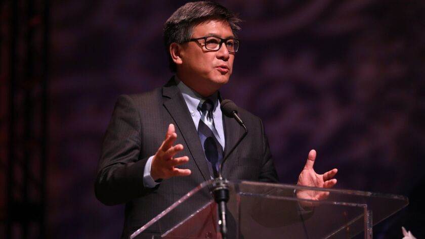 California gubernatorial candidate John Chiang speaks to the congregation at Agape International Spiritual Center in Culver City on May 30.