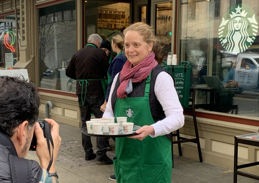 Starbucks Seattle campaigning